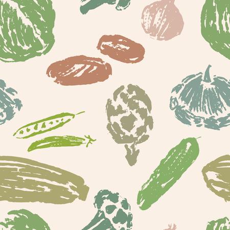 Seamless pattern of various drawn vegetables