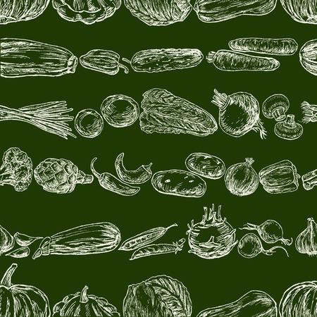 Seamless pattern of various vegetables sketches