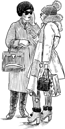 Sketch of fashionable townswomen Illustration