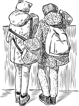 A sketch of schoolgirls having a rest on the quay Illustration