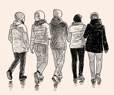 Vector image of schoolgirls go on a stroll Illustration