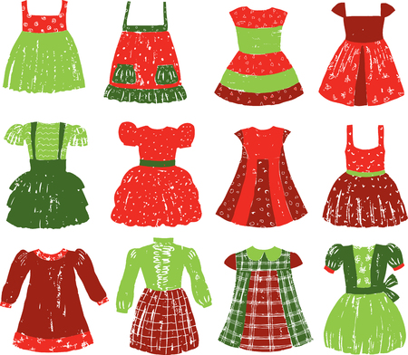 A set of dresses for a little girl Ilustracja