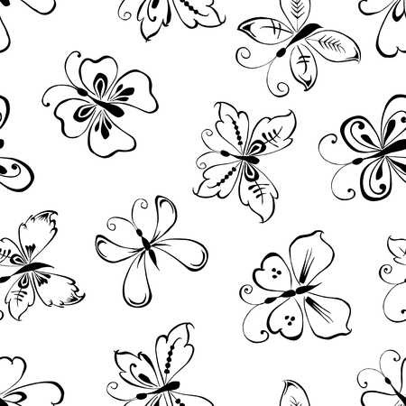 Pattern of decorative butterflies and flowers