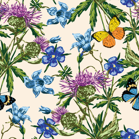 Seamless background of various wildflowers Ilustrace