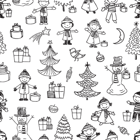 Vector pattern of children in christmas time 写真素材 - 125197704