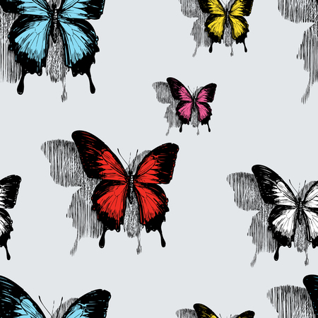 Seamless pattern of butterflies on the wall