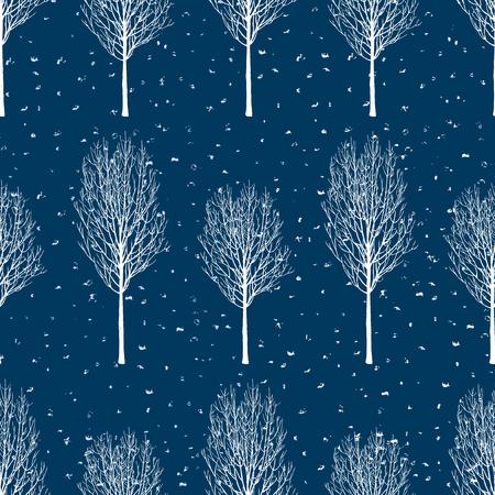 Vector background of frozen trees Illustration
