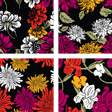A set of oriental floral patterns