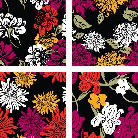 A set of oriental floral patterns 写真素材 - 124850707