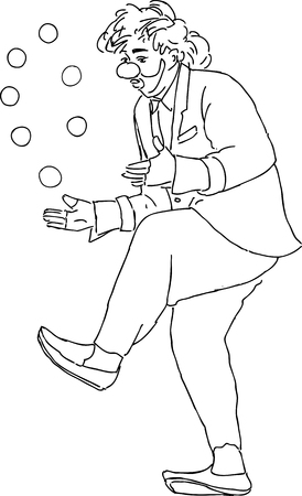A vector drawing of a clown juggling balls