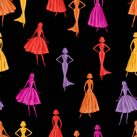 seamless pattern of elegants women