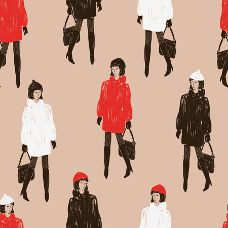Seamless pattern of fashionable women in the fur coats