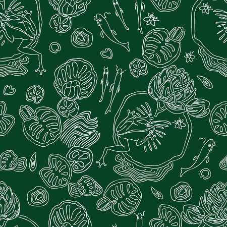 Seamless pattern of life in the swamp
