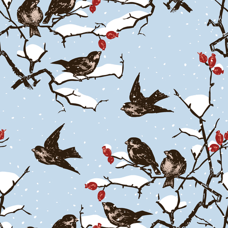 Seamless pattern of sparrows on branches in a winter day