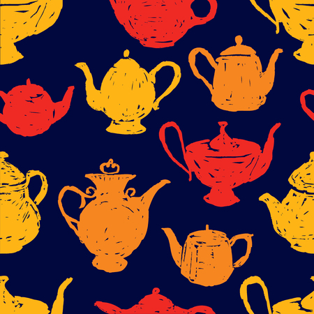 seamless pattern of tea pots sketches