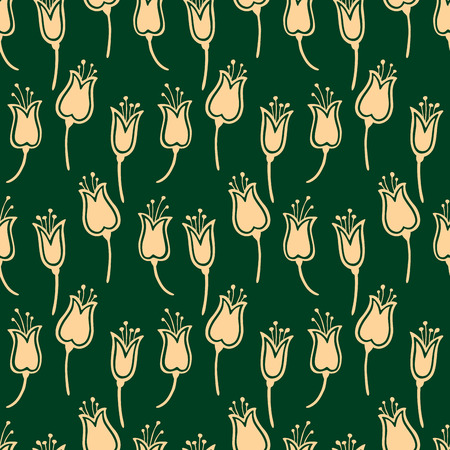 Seamless pattern of the yellow tulips