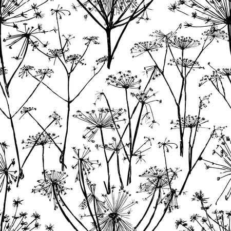 seamless pattern of umbrellas flowers
