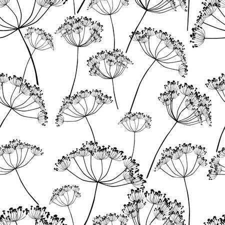 seamless pattern of wildflowers silhouettes  イラスト・ベクター素材