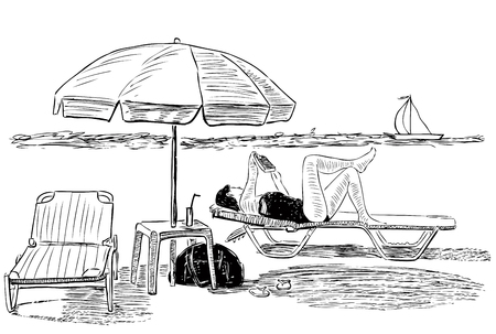 Sketch of a woman sunbathing on the beach Imagens - 124850718