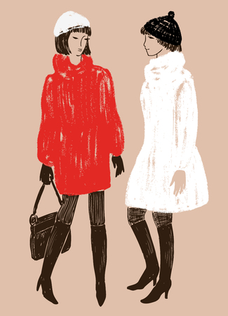 vector drawing of women in the fur coats  イラスト・ベクター素材