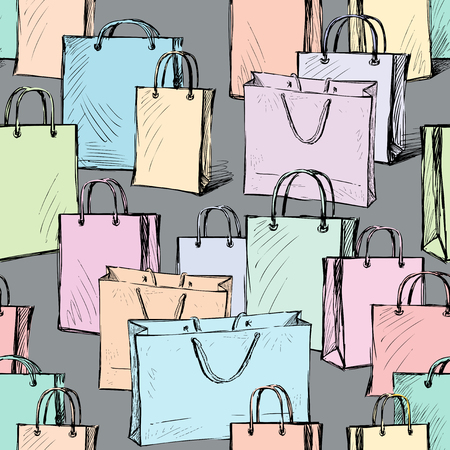 vector pattern of the purchases bags 写真素材 - 124850725