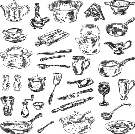 A set of various drawn kitchenware 写真素材 - 124561632