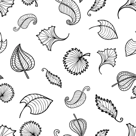 pattern of outlines of decorative leaves