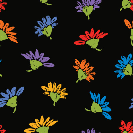 Seamless background of colorful daisies