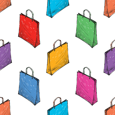 Seamless background of colorful shopping bags