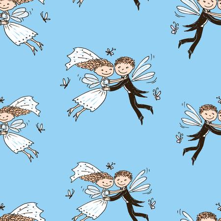 Seamless background of elves newlyweds Ilustracja