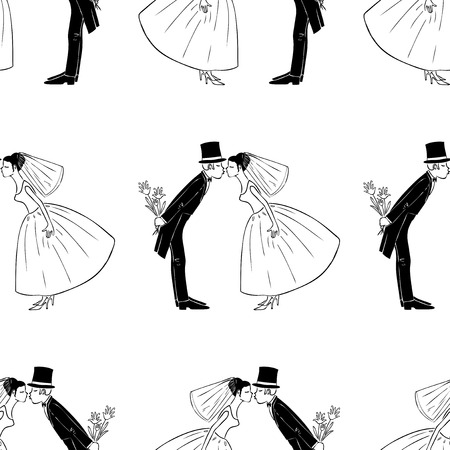 Seamless pattern of kissing newlyweds Vetores