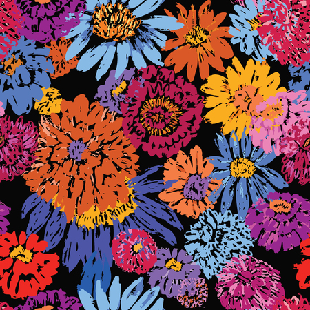 Seamless pattern of wildflowers sketches