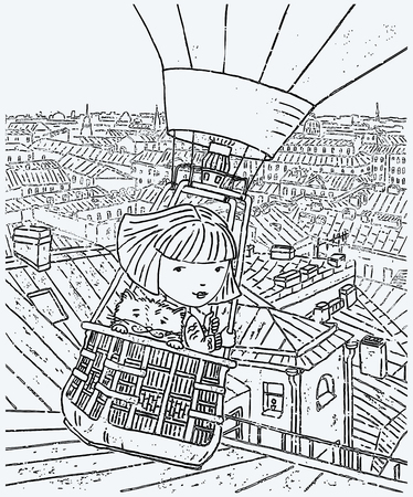 Vector image of a little girl with her cat flying in a balloon over the city