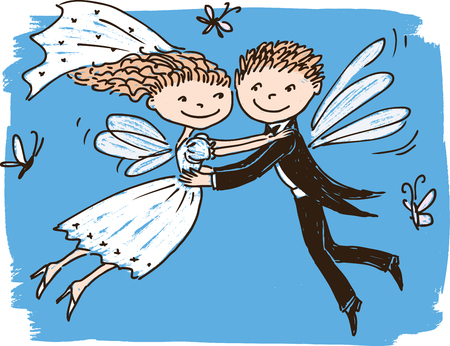 Vector image of flying elves newlyweds Illustration