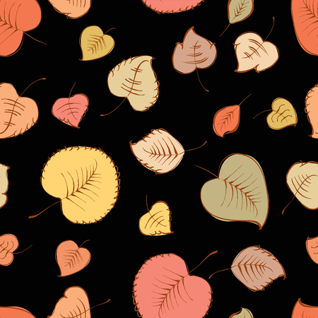 seamless pattern of the falling leaves Ilustracja
