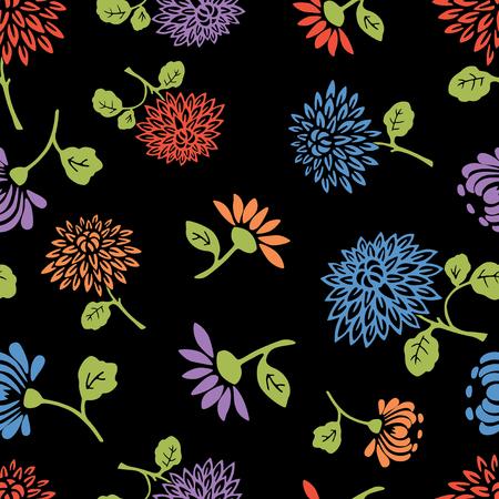 seamless pattern of the garden flowers