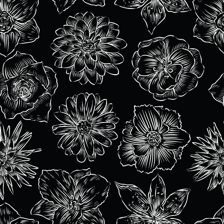 Seamless pattern of various garden flowers