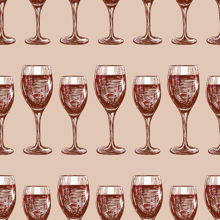 Seamless pattern of wine glasses