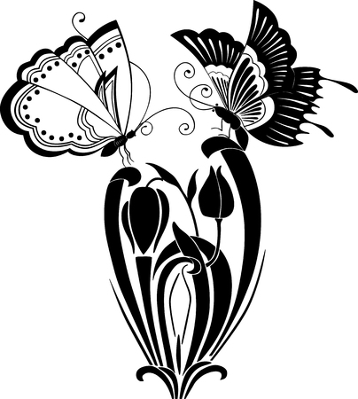 Vector image of a decorative butterflies and flower