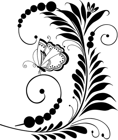 Vector image of decorative flower and butterfly