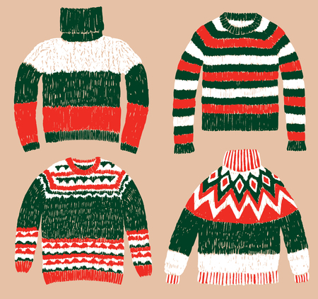 A set of warm knitted sweaters Ilustracja