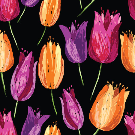 Background of colorful drawn tulips