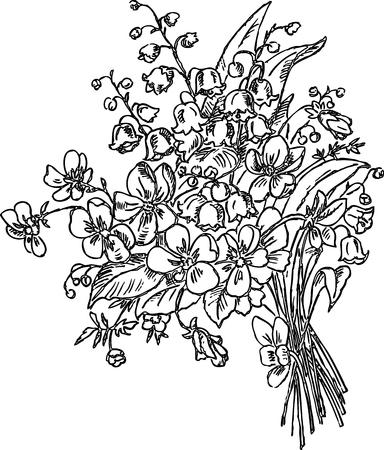 Dessin à la main d'un bouquet de fleurs printanières
