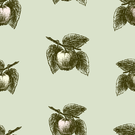 Pattern of sketches of apples on branches Ilustracja