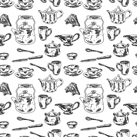 Seamless background of tableware for tea drinking  イラスト・ベクター素材