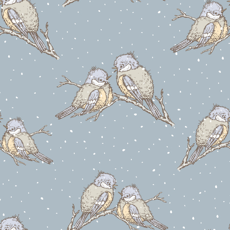 Seamless background of titmouses in winter