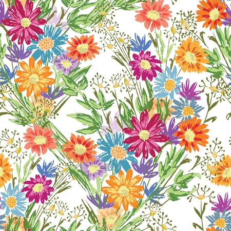 Seamless background of bouquets of wildflowers Ilustrace