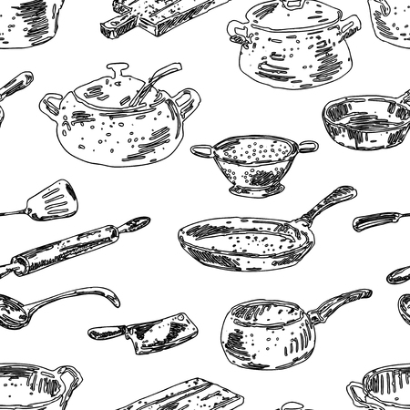 Seamless background of cooking utensils  イラスト・ベクター素材