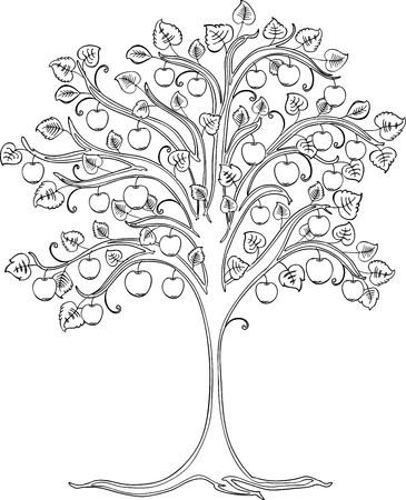 A contour drawing of decorative apple tree