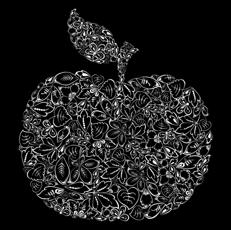 An apple silhouette from fall leaves Stock Illustratie